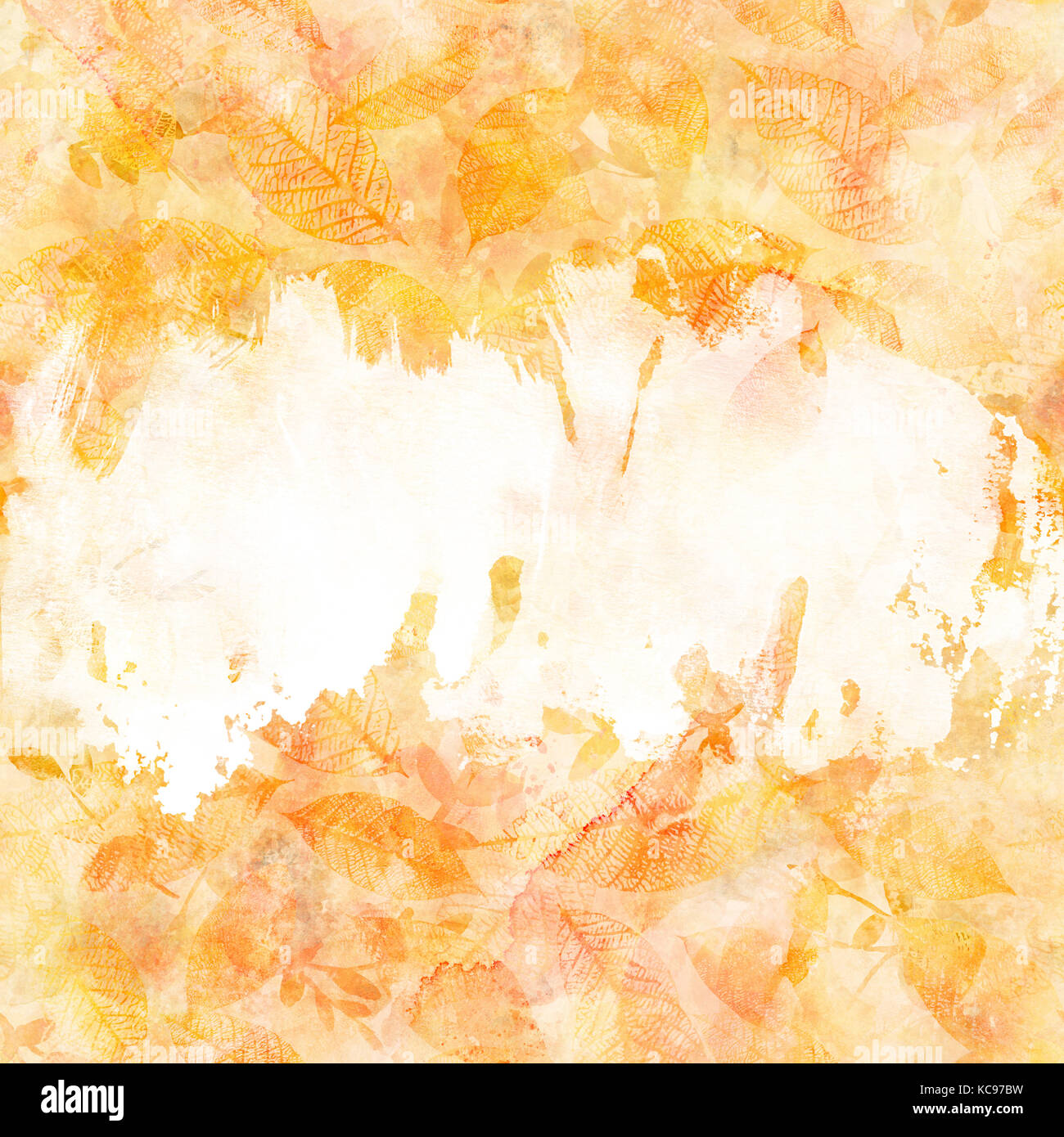 An autumn background texture with golden yellow and white painterly brush strokes and leaves silhouettes. An abstract - Stock Image