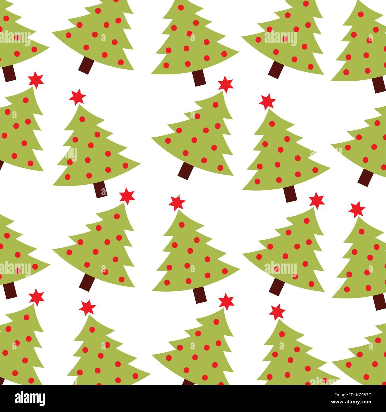 Christmas Green Tree Pine Decoration Celebration Seamless Pattern