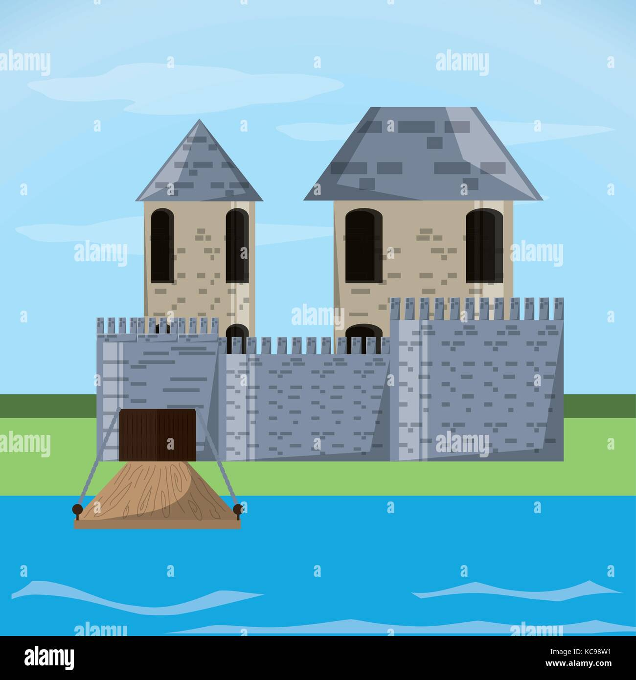 Castle with tower design - Stock Vector