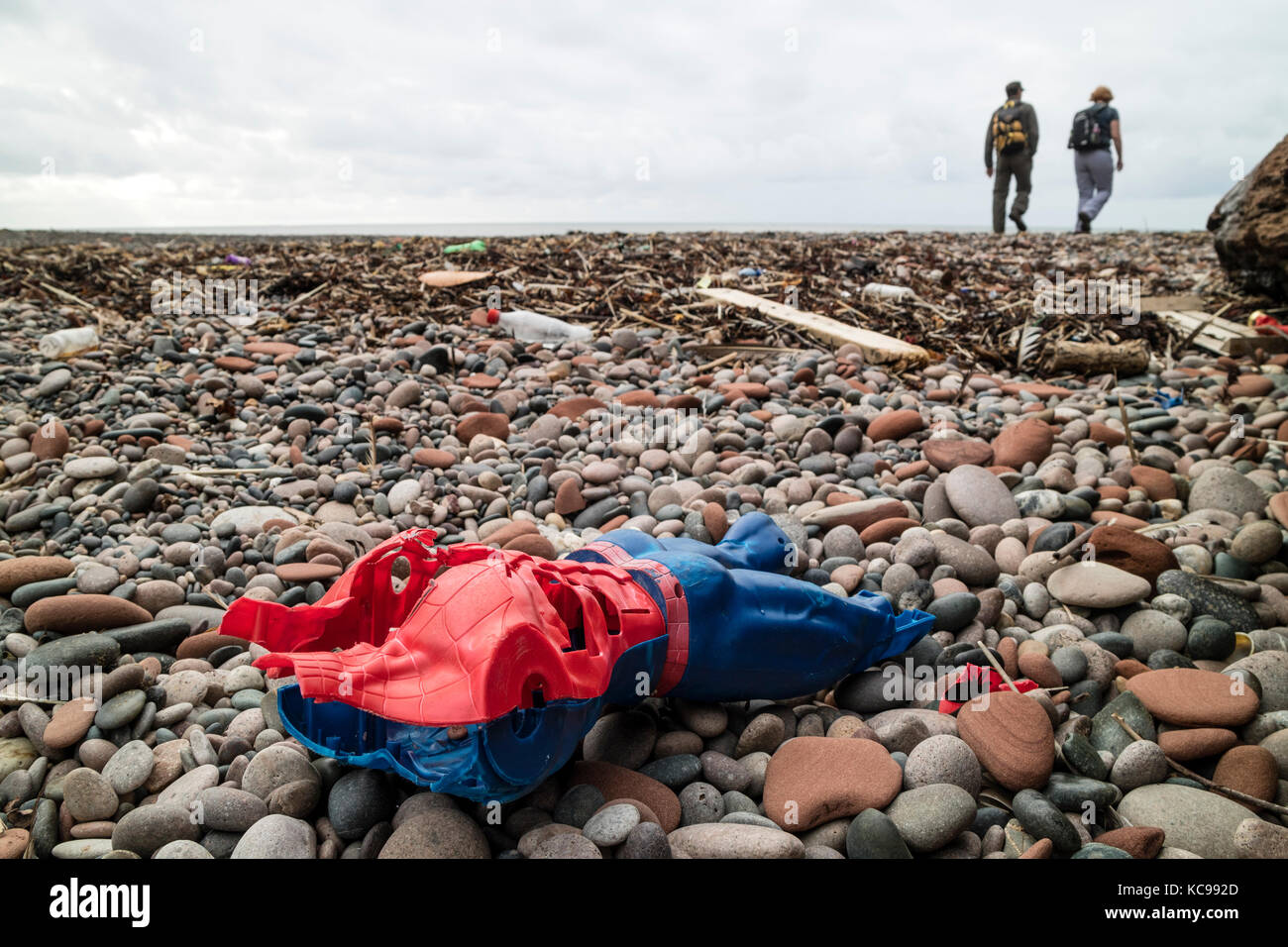 Plastic and other Debris Washed up on the Beach of Fleswick Bay Near St Bees, Cumbria, UK - Stock Image