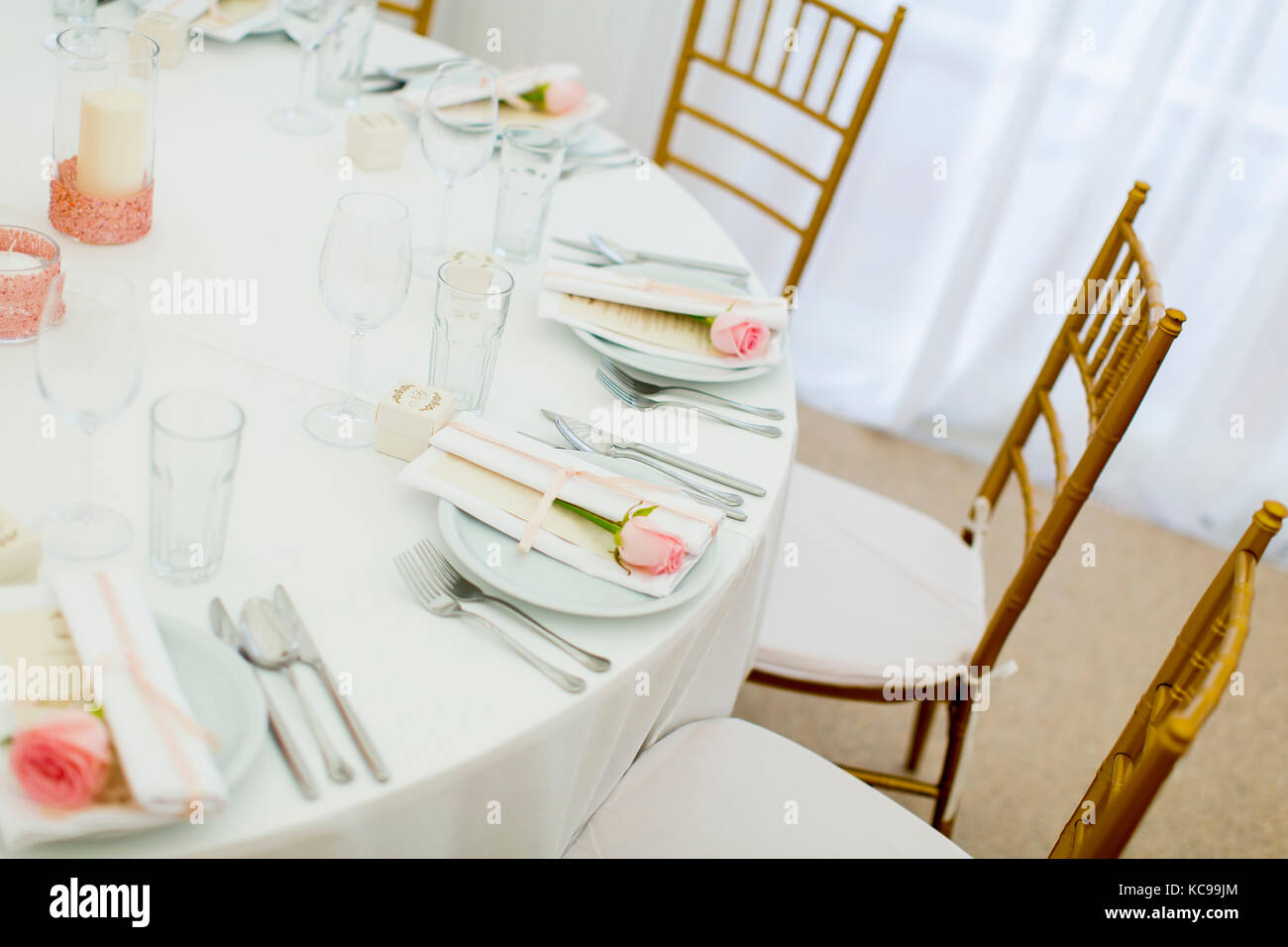 Top View At Wedding Table Decoration With Pink Rose On Plate