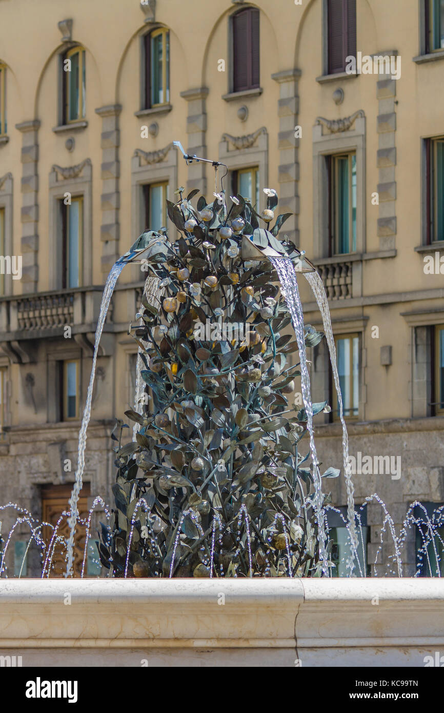 Detail of Fountain at Piazza Liberta in Bergamo, Italy - Stock Image