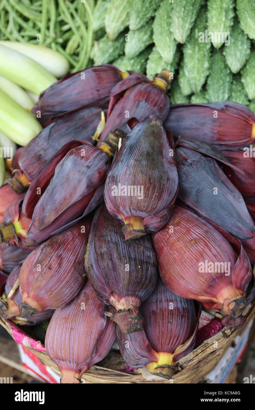 Banana Flowers on market to eat - Stock Image