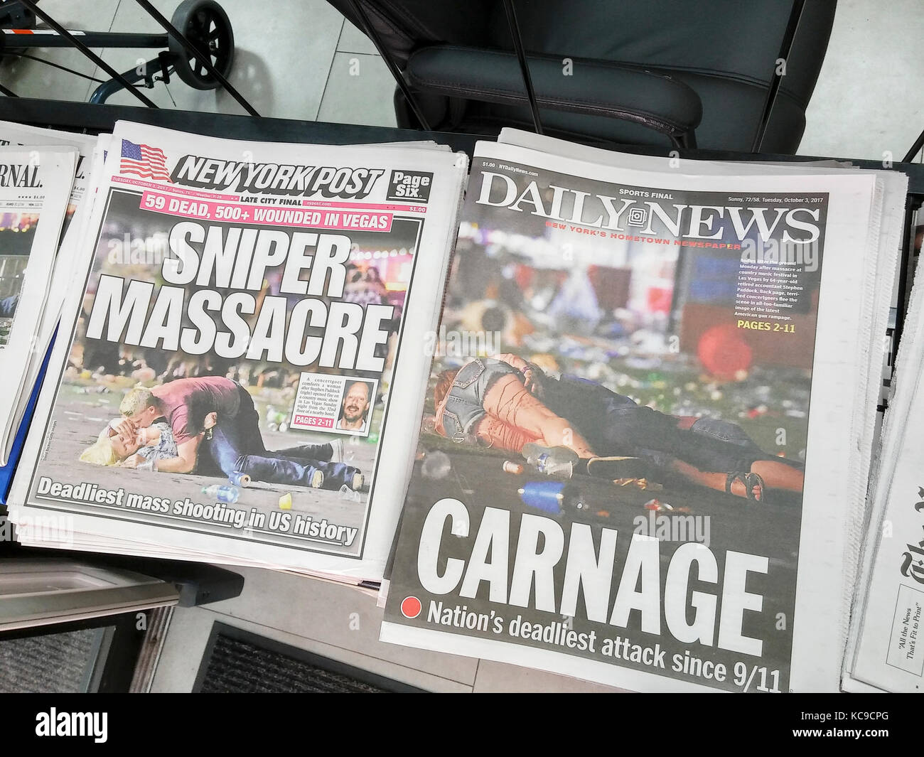 Front pages of New York newspapers on Tuesday, October 3, 2017 report on the shooting by Stephen Paddock in Las - Stock Image