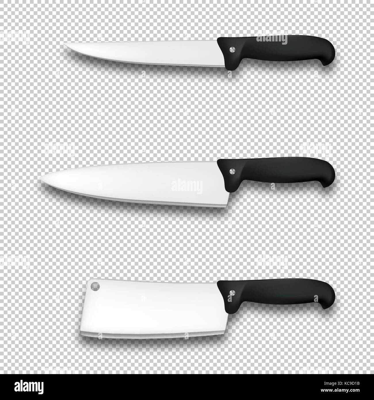 Cutlery icon set - vector realistic diffrent kitchen knives closeup isolated on transparent background. Design template - Stock Image
