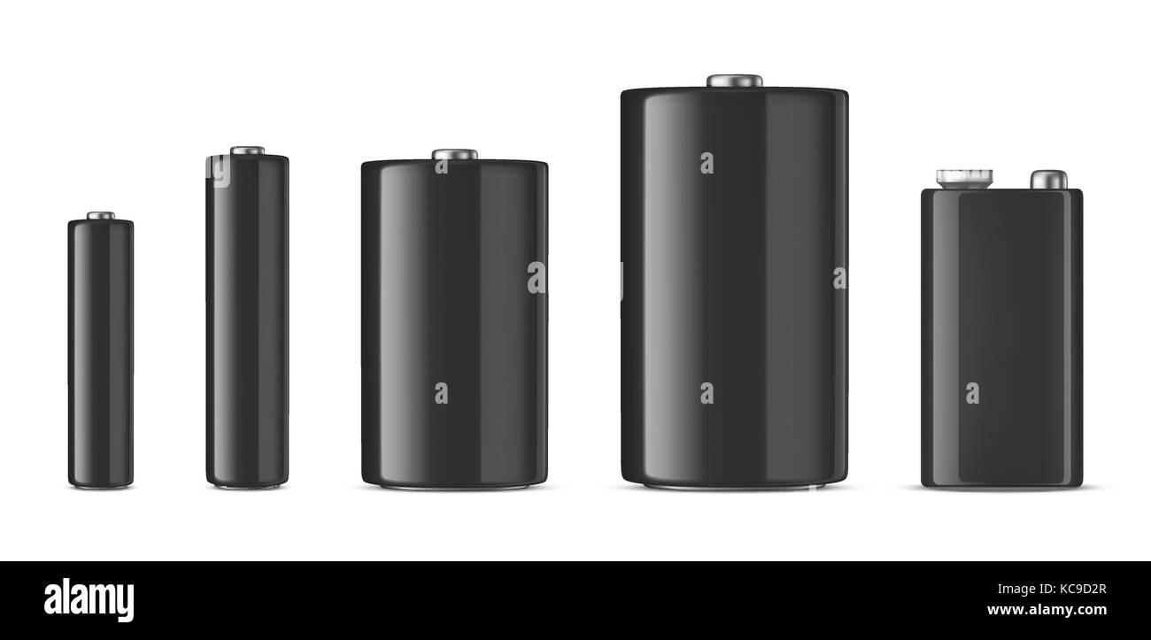 Vector realistic black alkaline batteriy icon set. Diffrent size - AAA, AA, C, D, PP3. Design template for branding, - Stock Vector