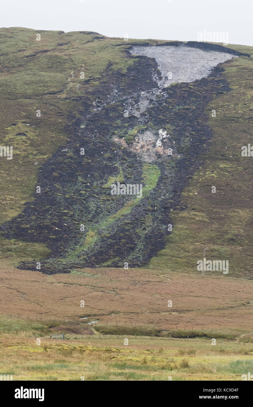 Peat landslide slide or bog burst, Shetland Mainland, Shetland Islands, Scotland, UK - Stock Image