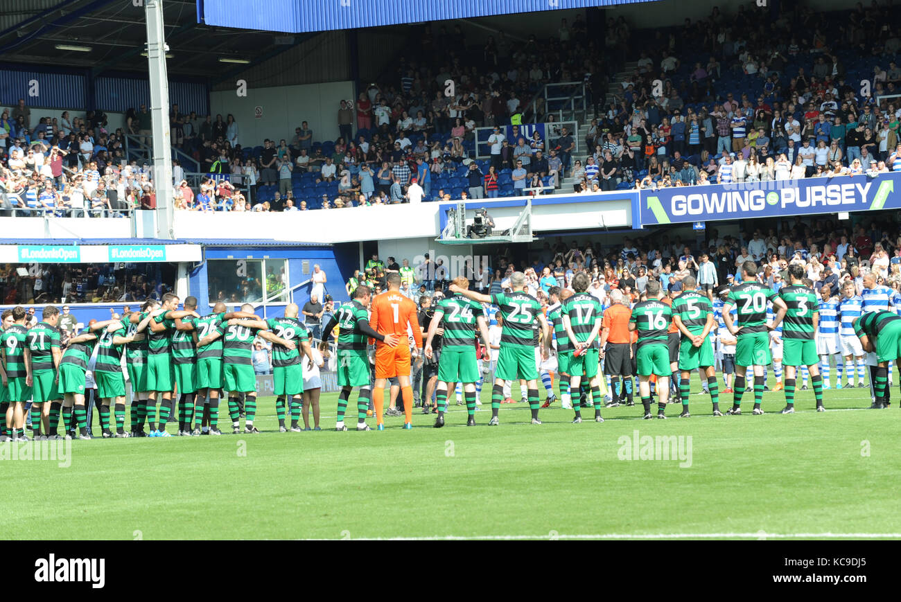 Game for Grenfell, at Loftus Road Stadium, celebrities, family members from Grenfell and members of the emergency - Stock Image