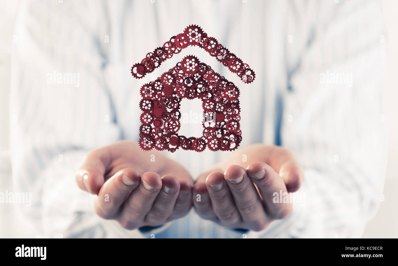 Symbol of homepage or accomodation made with cogwheels presented - Stock Image