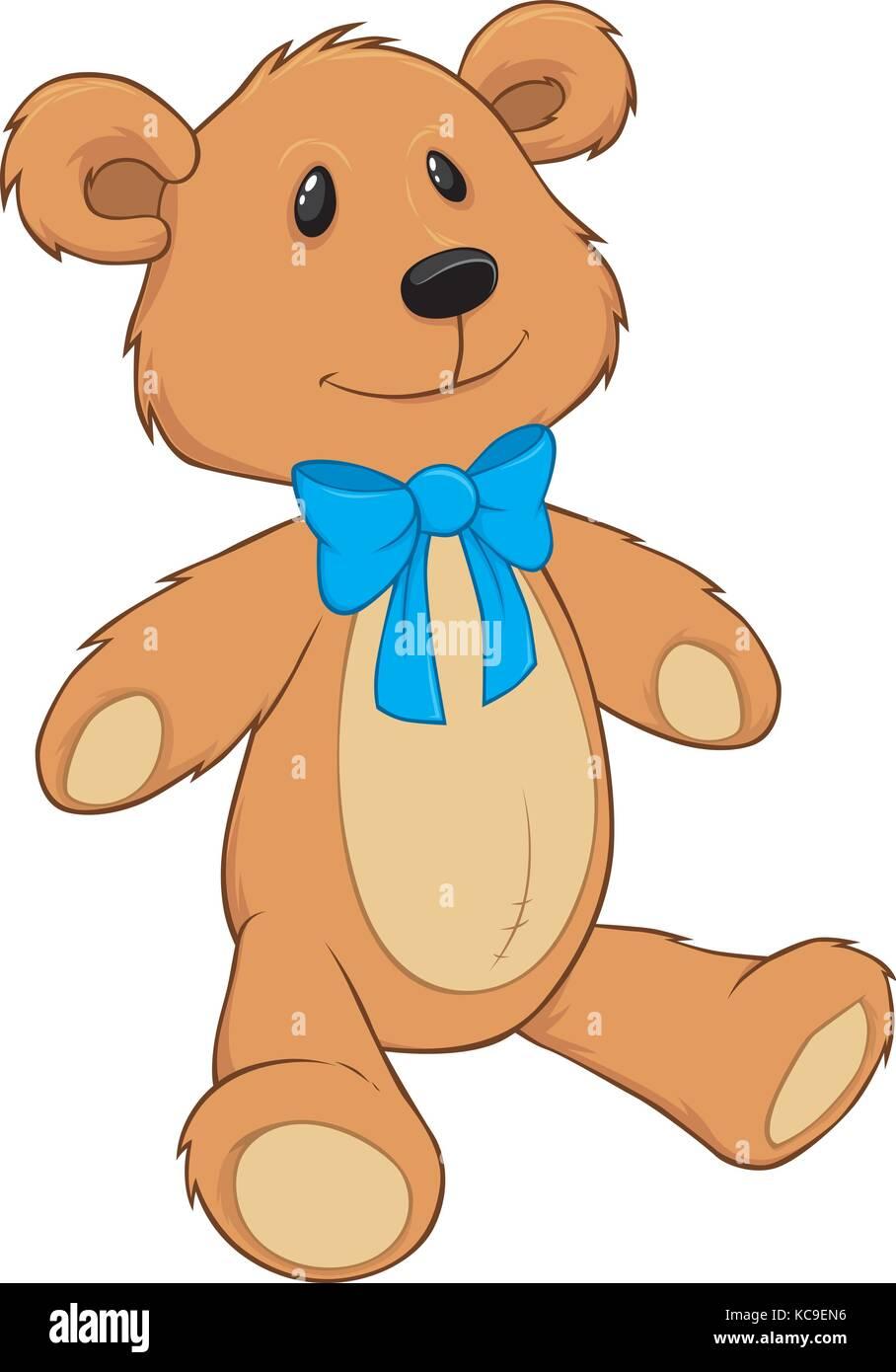 Teddy Bear with blue bow tie Stock Vector