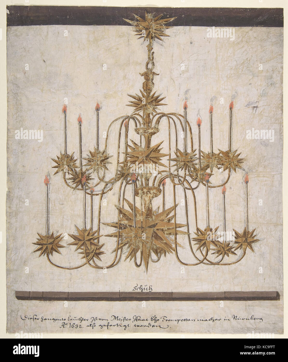 Design for a Chandelier with Sixteen Candles, Isaak Ehe, 1632 - Stock Image