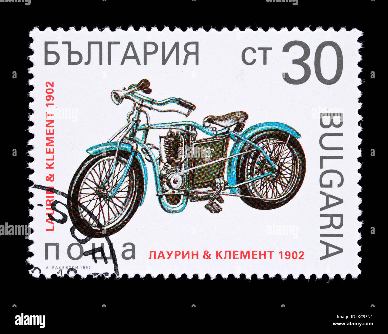 POstage stamp from Bulgaria depicting a 1902 Laurin and Klement motorcycle. - Stock Image