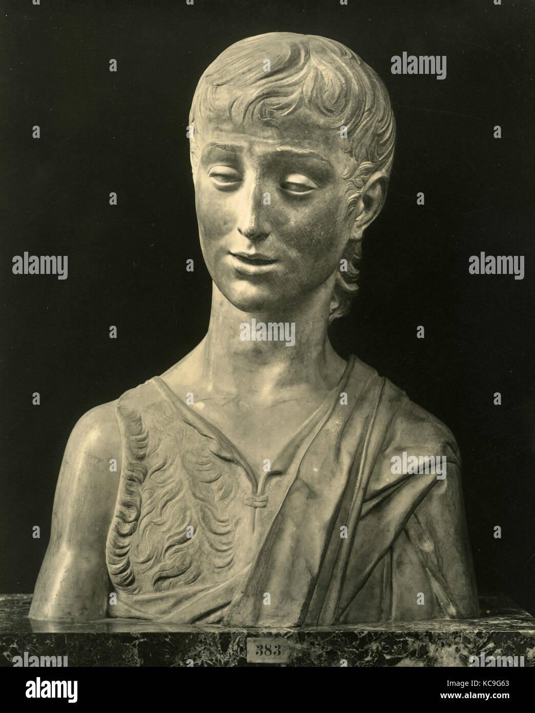 St John the Baptist, marble statue by Donatello - Stock Image