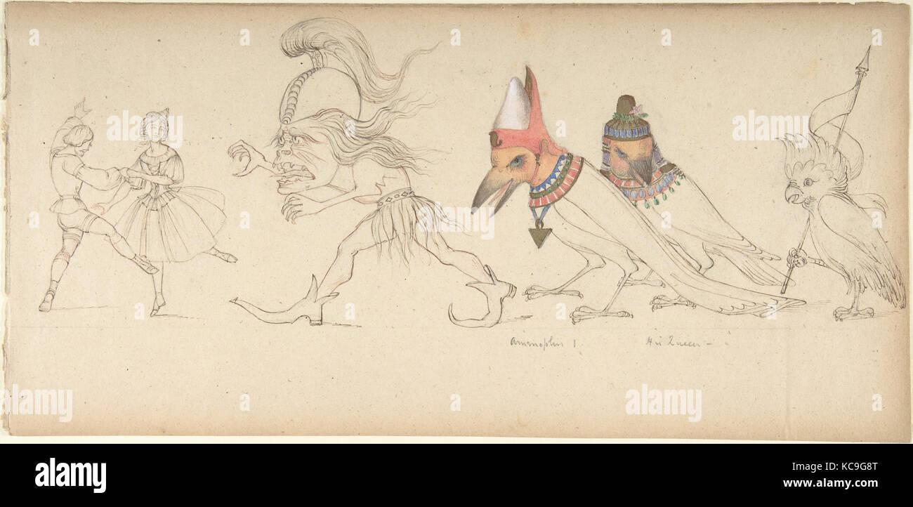 Frieze of Figures and Birds, Rev. Geoffrey Liddell Johnstone, 19th century - Stock Image