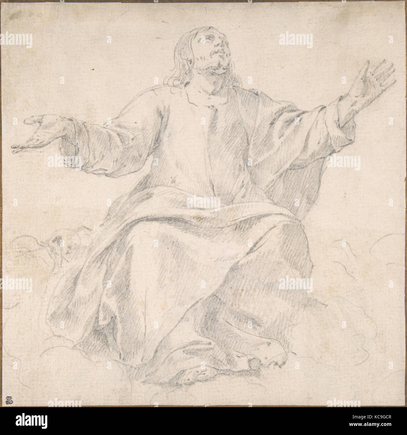 Study for Christ as Mediator, Graphite, 6 13/16 x 6 13/16 in. (17.3 x 17.3 cm), Drawings, Jean Daret (French, Brussels - Stock Image