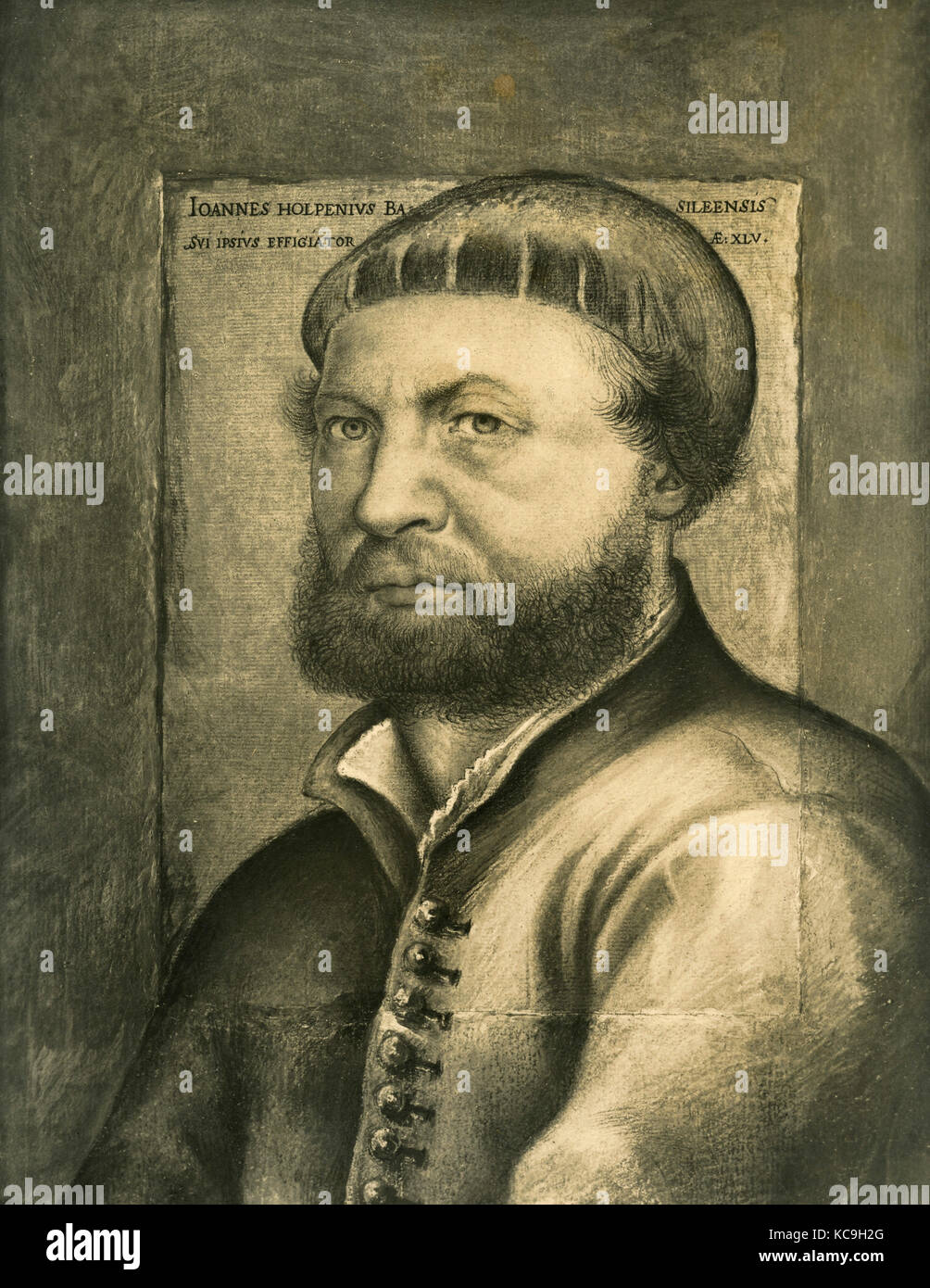 Self-portrait of German painter Hans Holbein the Younger - Stock Image