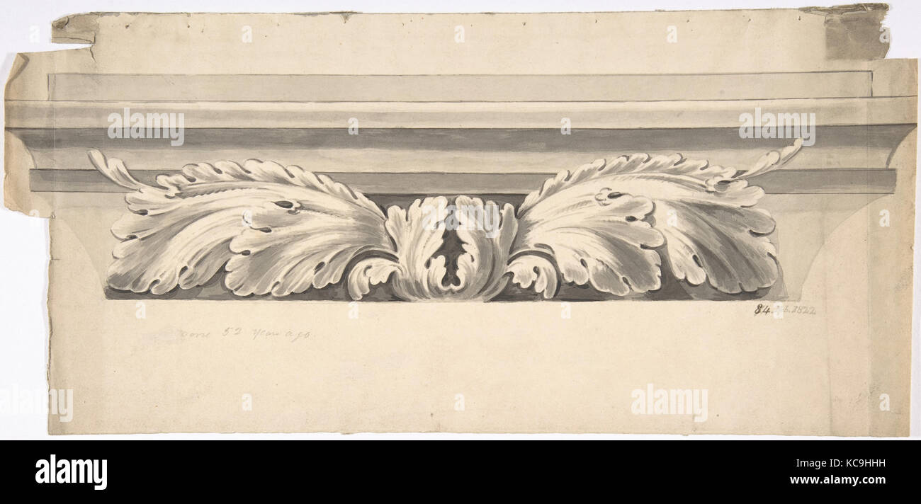 Design for an Entablature Carved with Acanthus, Anonymous, British, 19th century, 1822 - Stock Image