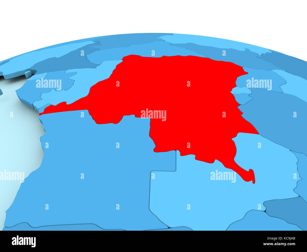 Picture of: Map Of Democratic Republic Of Congo In Red On Blue Political Globe Stock Photo Alamy