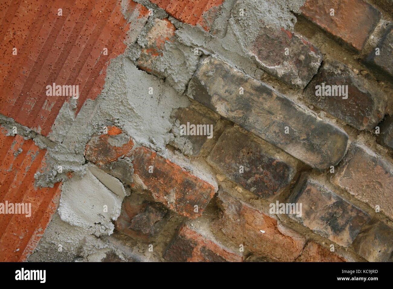 Mauer mit unterschiedlichen Steinen - Wall with different stones Stock Photo