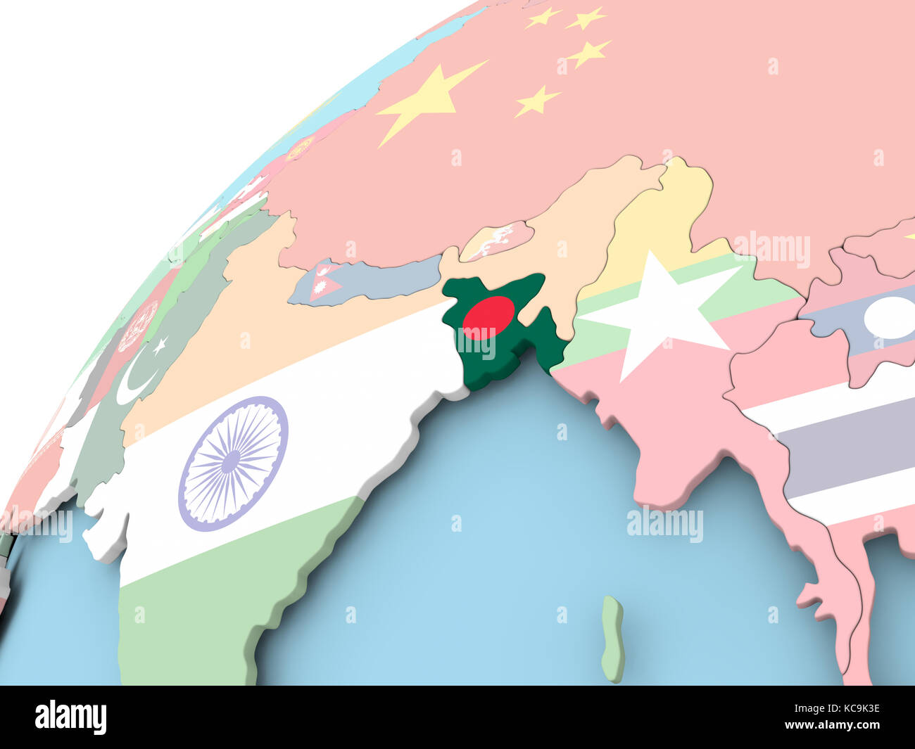Map Of Bangladesh On Political Globe With Embedded Flag 3d Stock Photo Alamy