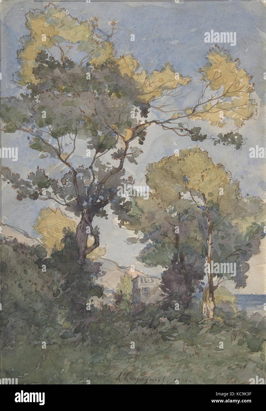 Landscape, 1900, Watercolor, graphite, Overall: 11 1/16 x 7 13/16in. (28.1 x 19.8cm), Drawings, Henri-Joseph Harpignies - Stock Image
