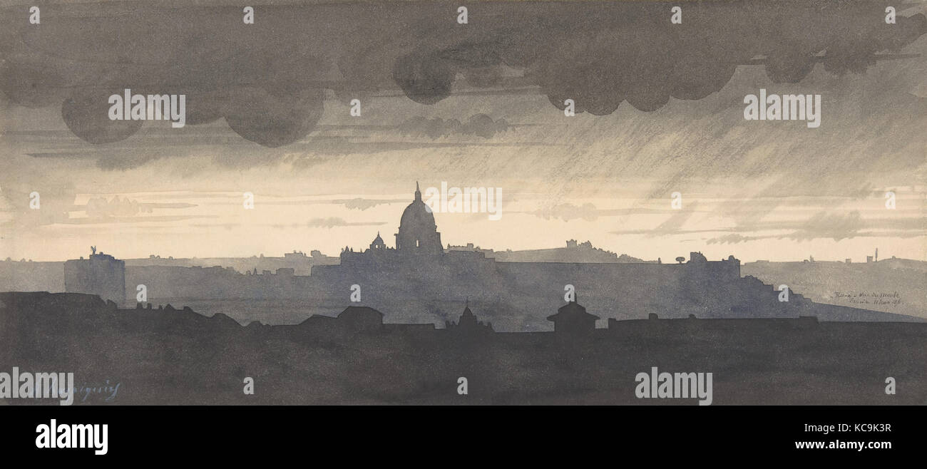 Saint Peter's Seen From the Pincio, Rome, Henri-Joseph Harpignies, 1856 - Stock Image