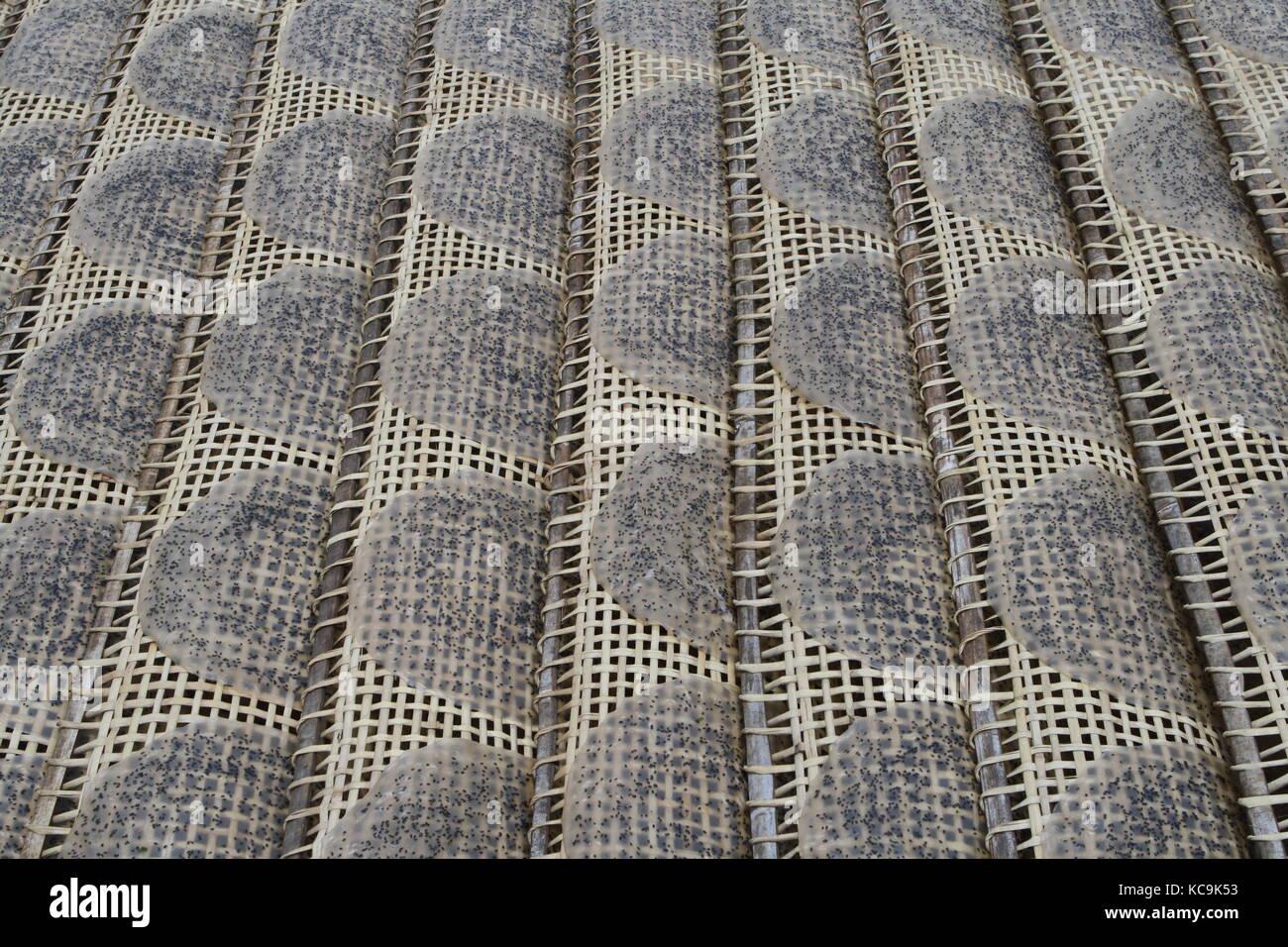 Reisfladen zum Trocknen für Frühlingsrollen - Stock Image