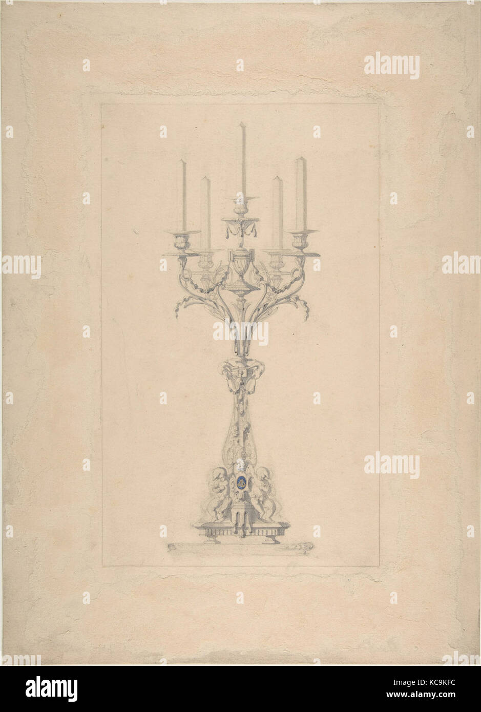 Design for a Five Branched Candlestick Supported by Putti, Anonymous, British, late 19th to early 2th century - Stock Image