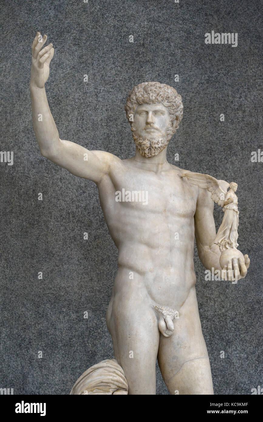 Rome. Italy. Statue of Roman Emperor Lucius Verus as victorious athlete, (161-169 A.D.), Braccio Nuovo, Chiaramonti - Stock Image