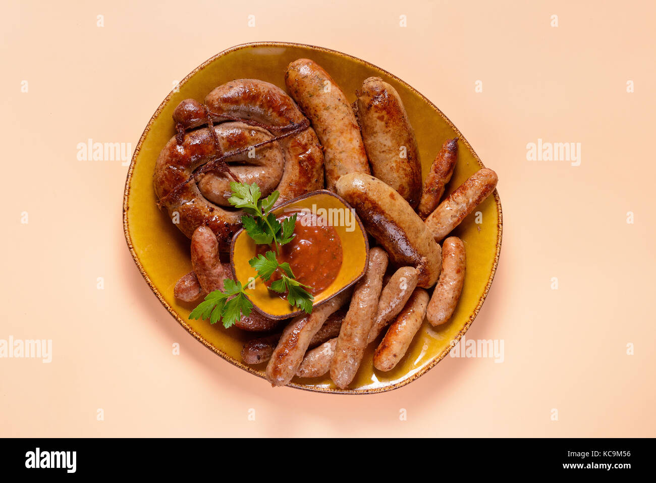Set of fried sausages - Stock Image