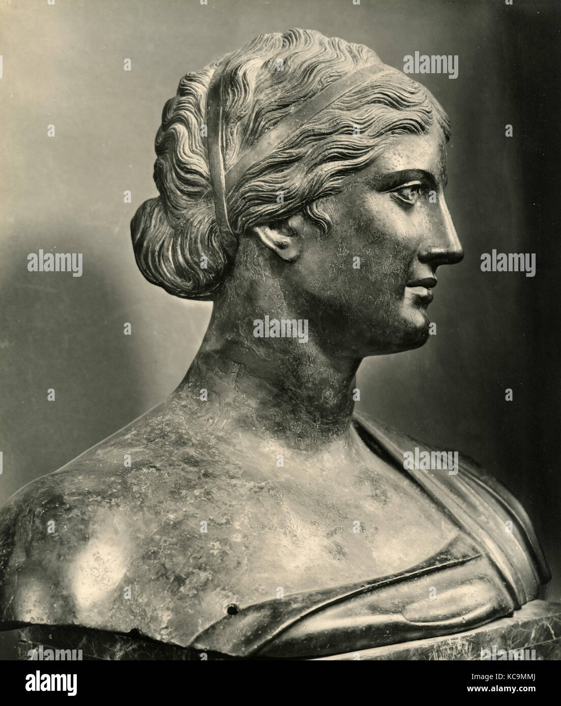 Sappho, bronze bust - Stock Image