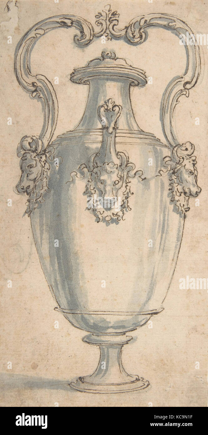 Design for a Ewer with Bull's Heads under the Handels and Spout, Giovanni Battista Foggini, 1652–1725 - Stock Image