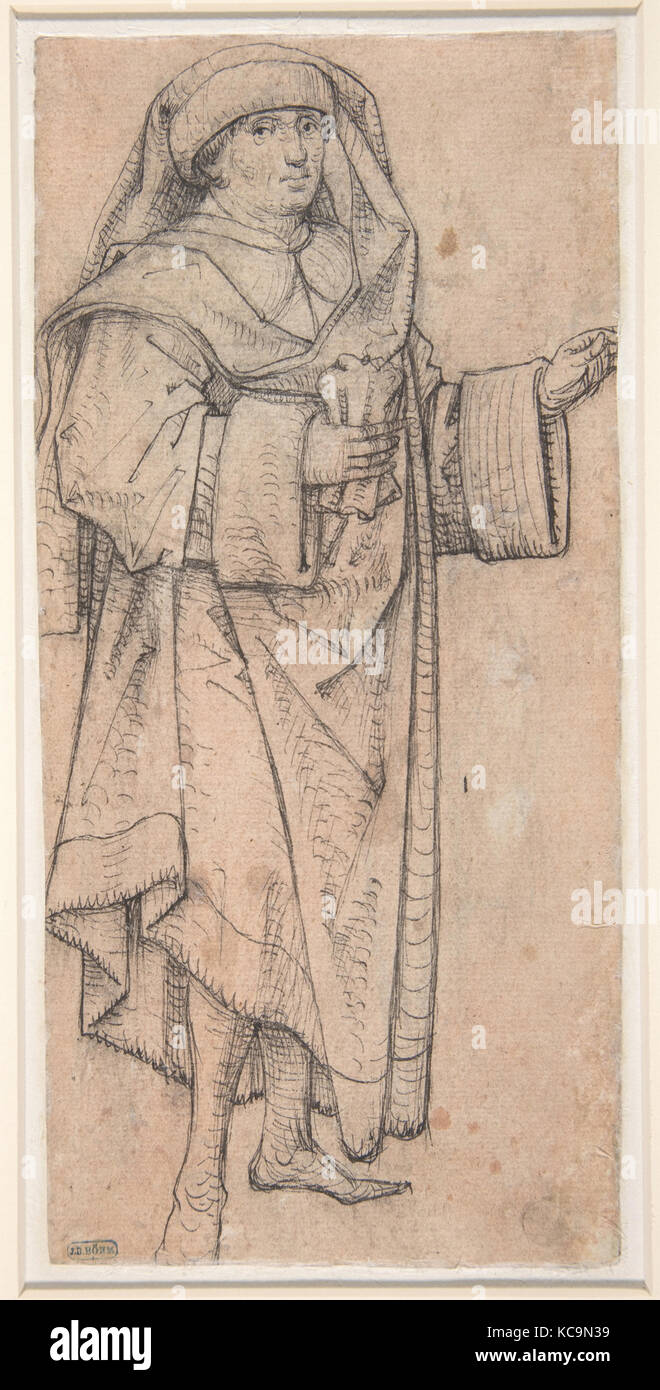Standing Scholar (Prophet?) Turned to the Right (Recto); Standing Scholar (Prophet?) Turned to the Left (Verso), - Stock Image