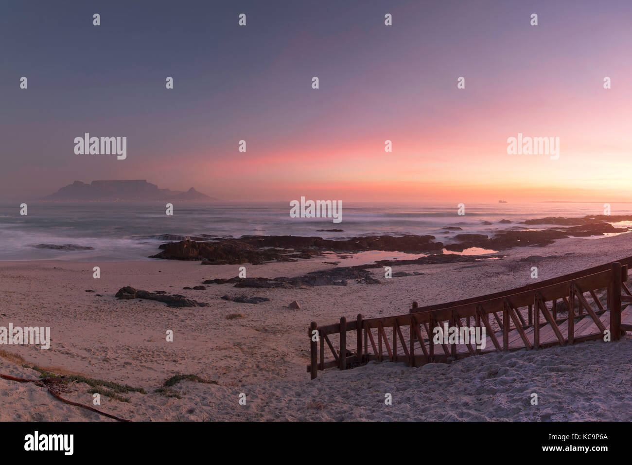 View of Table Mountain from Bloubergstrand, Cape Town, Western Cape, South Africa - Stock Image