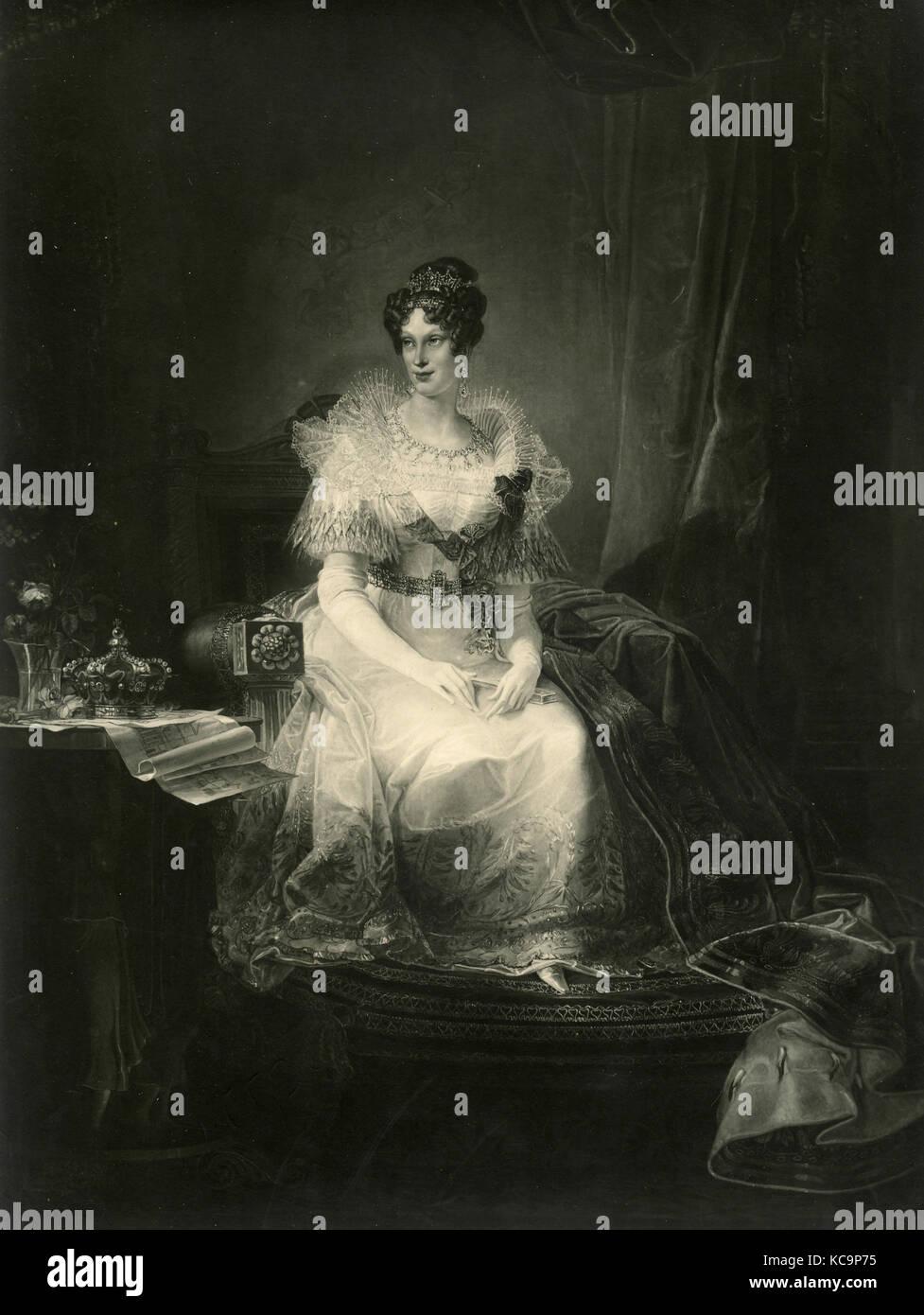 Portrait of Maria Luigia Archiduchesse of Austria, painting by G.B. Borghesi - Stock Image
