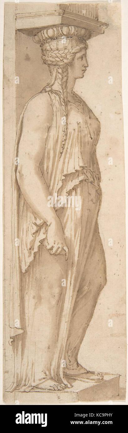 Caryatid Facing Right, Attributed to Pirro Ligorio, mid-16th Century - Stock Image
