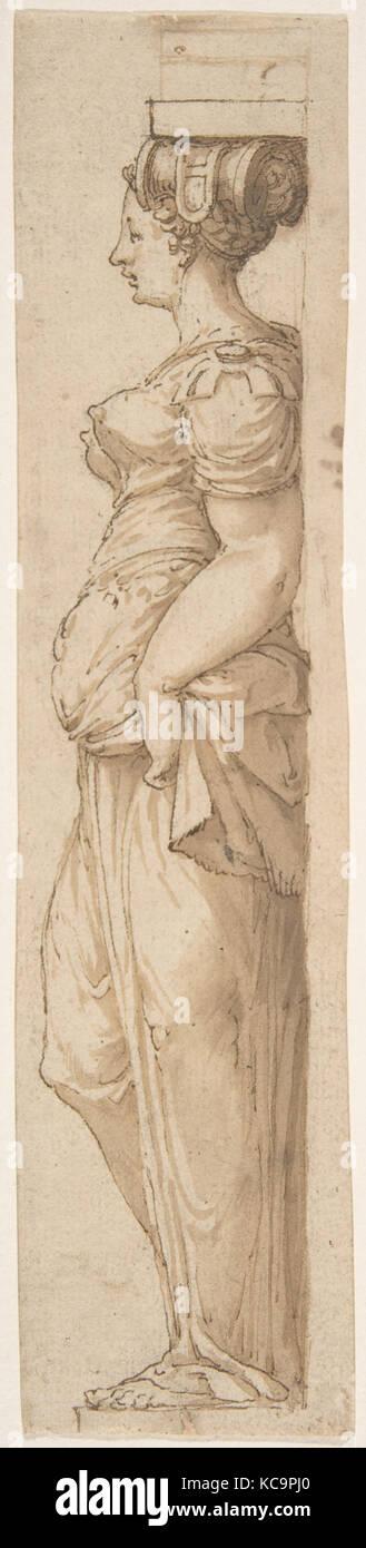 Caryatid Facing Left, Attributed to Pirro Ligorio, mid-16th century - Stock Image