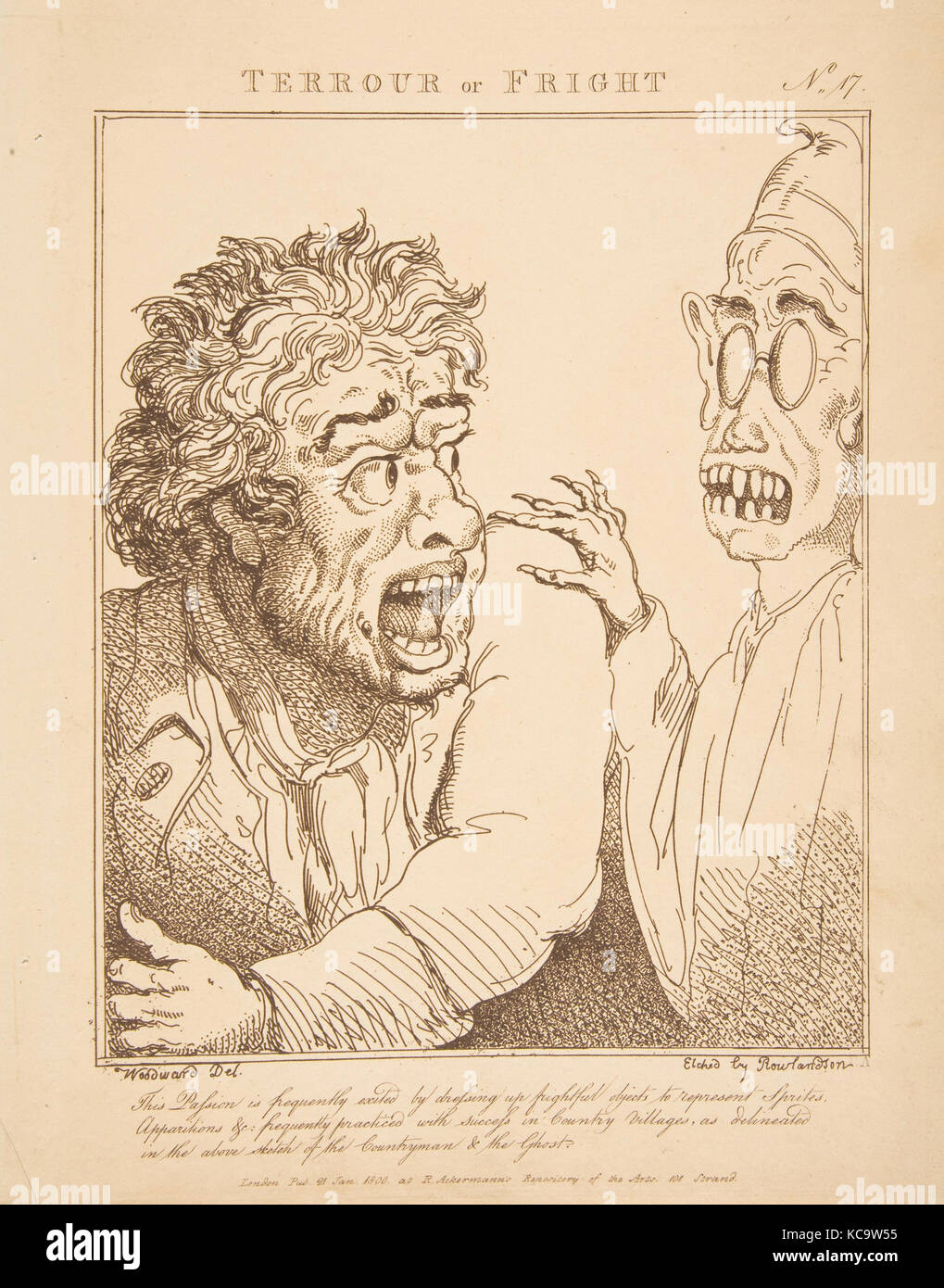 Terrour or Fright (Le Brun Travested, or Caricatures of the Passions), After George Moutard Woodward, January 21, - Stock Image