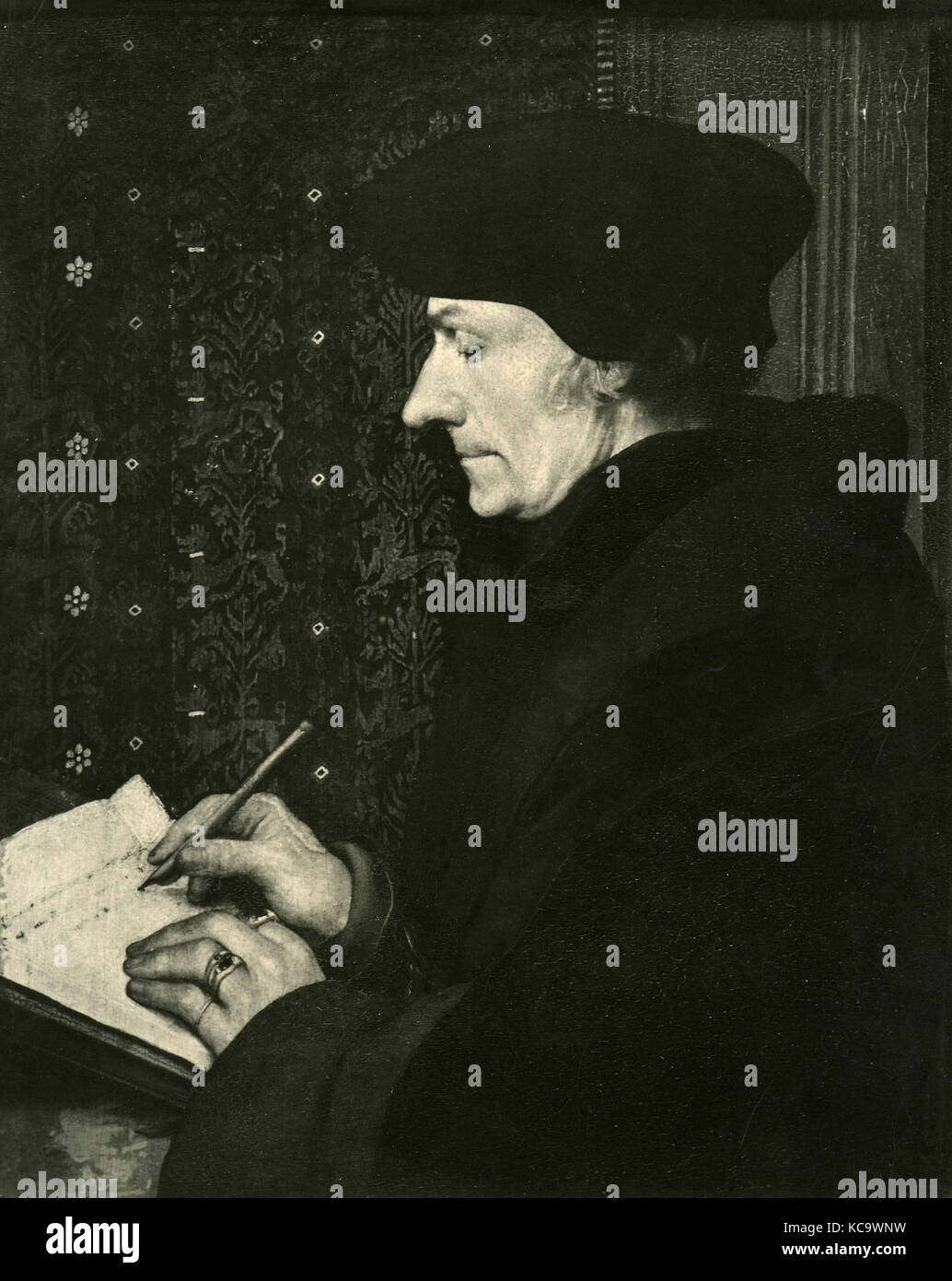 Portrait of Erasmus, painting by Hans Holbein - Stock Image