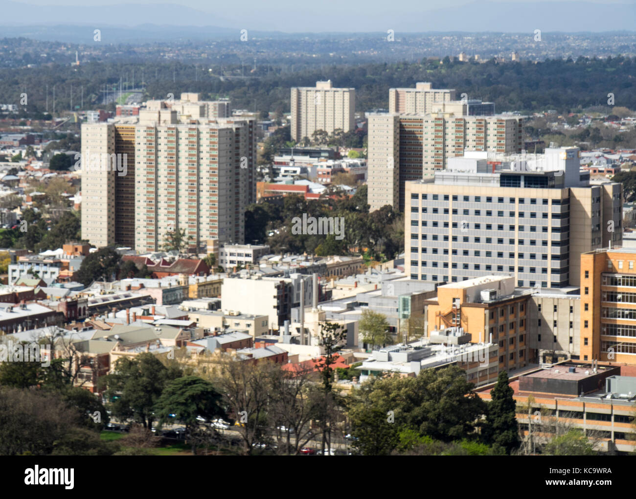 High rise public housing towers in Fitzroy, Melbourne, Victoria, Australia. - Stock Image