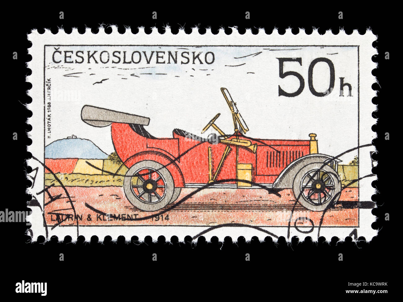 Postage stamp from Czechoslovakia depicting  a 1914 Laurin and Klement classic automobile. - Stock Image