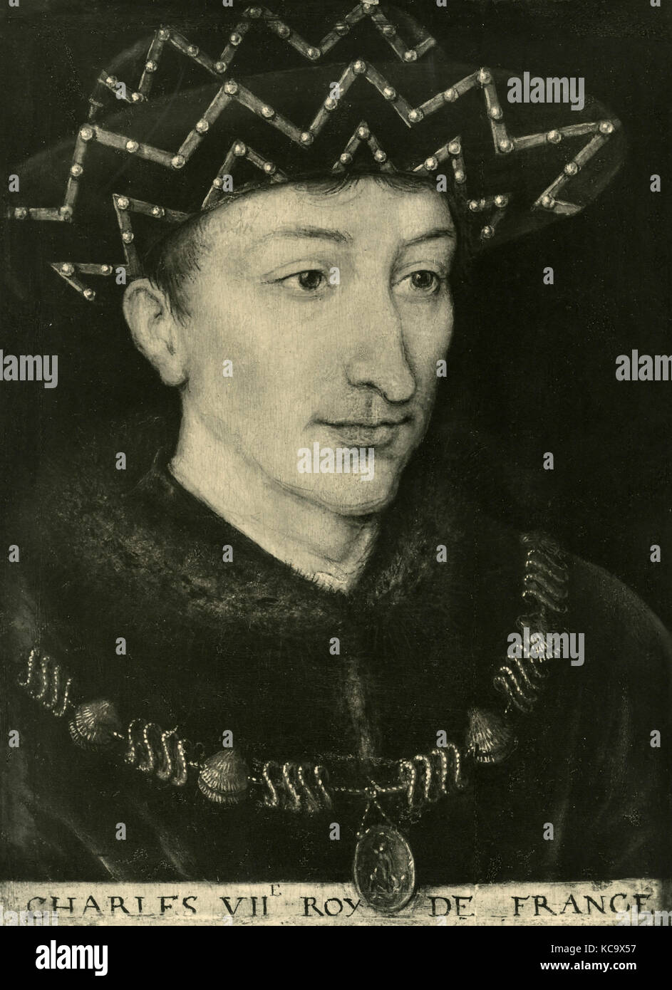 Portrait of Charles the VII king of France, painting by unknown Stock Photo