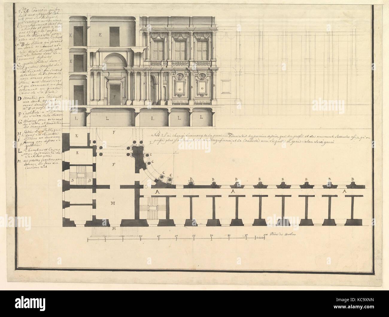Half Longitudinal Section and Half Plan, Workshop of Giuseppe Galli Bibiena, ca. 1750 - Stock Image