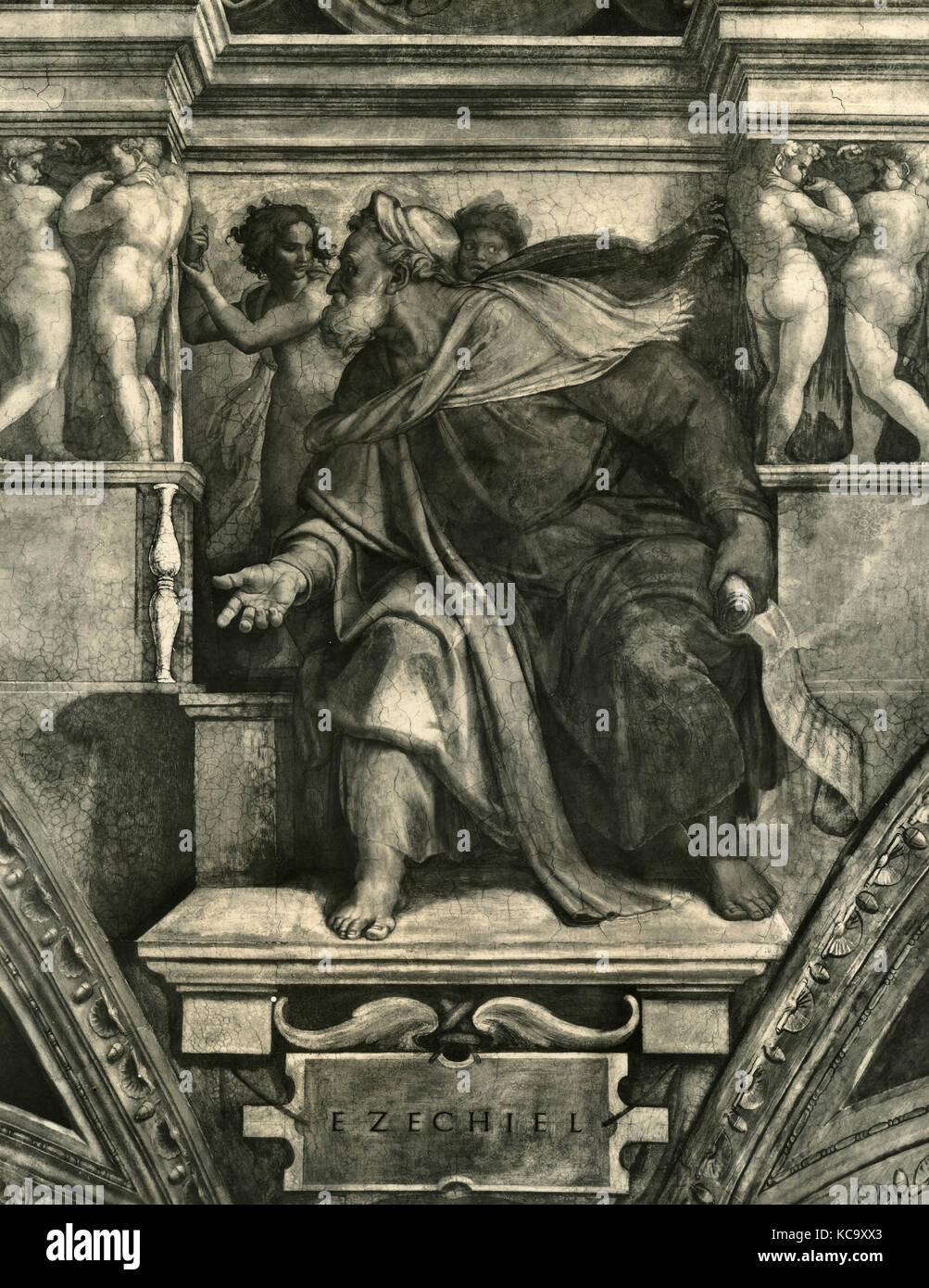 Prophet Ezekiel fresco by Michelangelo, Sistine Chapel - Stock Image