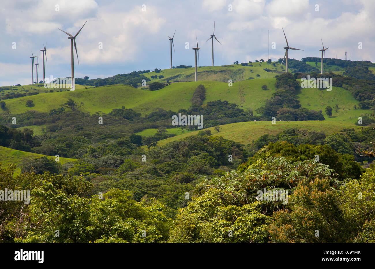 Wind turbines around Lake Arenal in Costa Rica - Stock Image