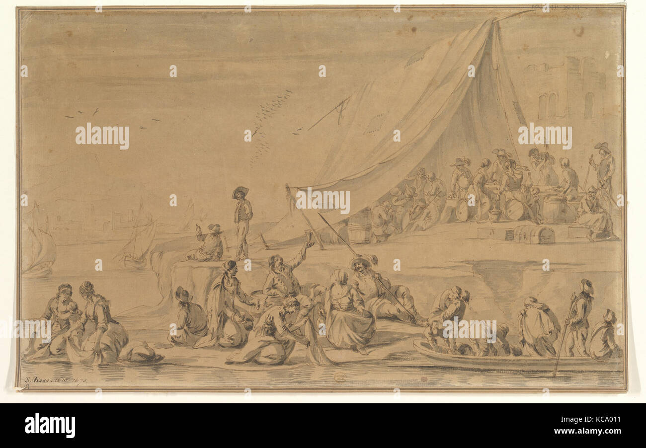 A Pirate's Camp, 17th century, Pen and ink, brush and wash, on buff paper, 12-9/16 x 20-1/4 in. (31.9 x 51.4 - Stock Image
