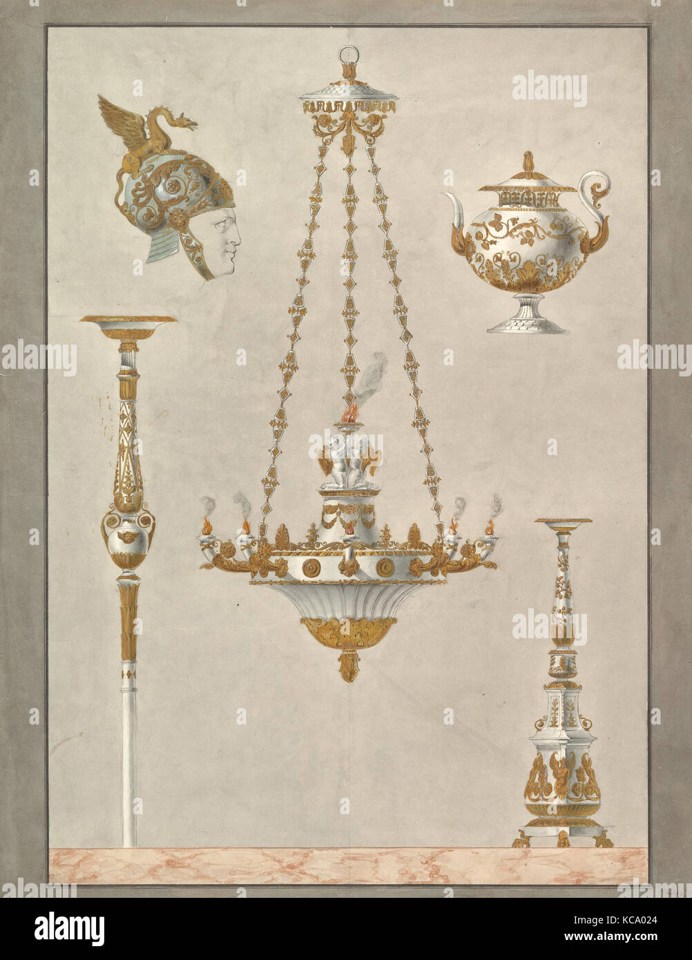 Designs for Metalwork, Anonymous, Italian, 19th century, 19th century - Stock Image