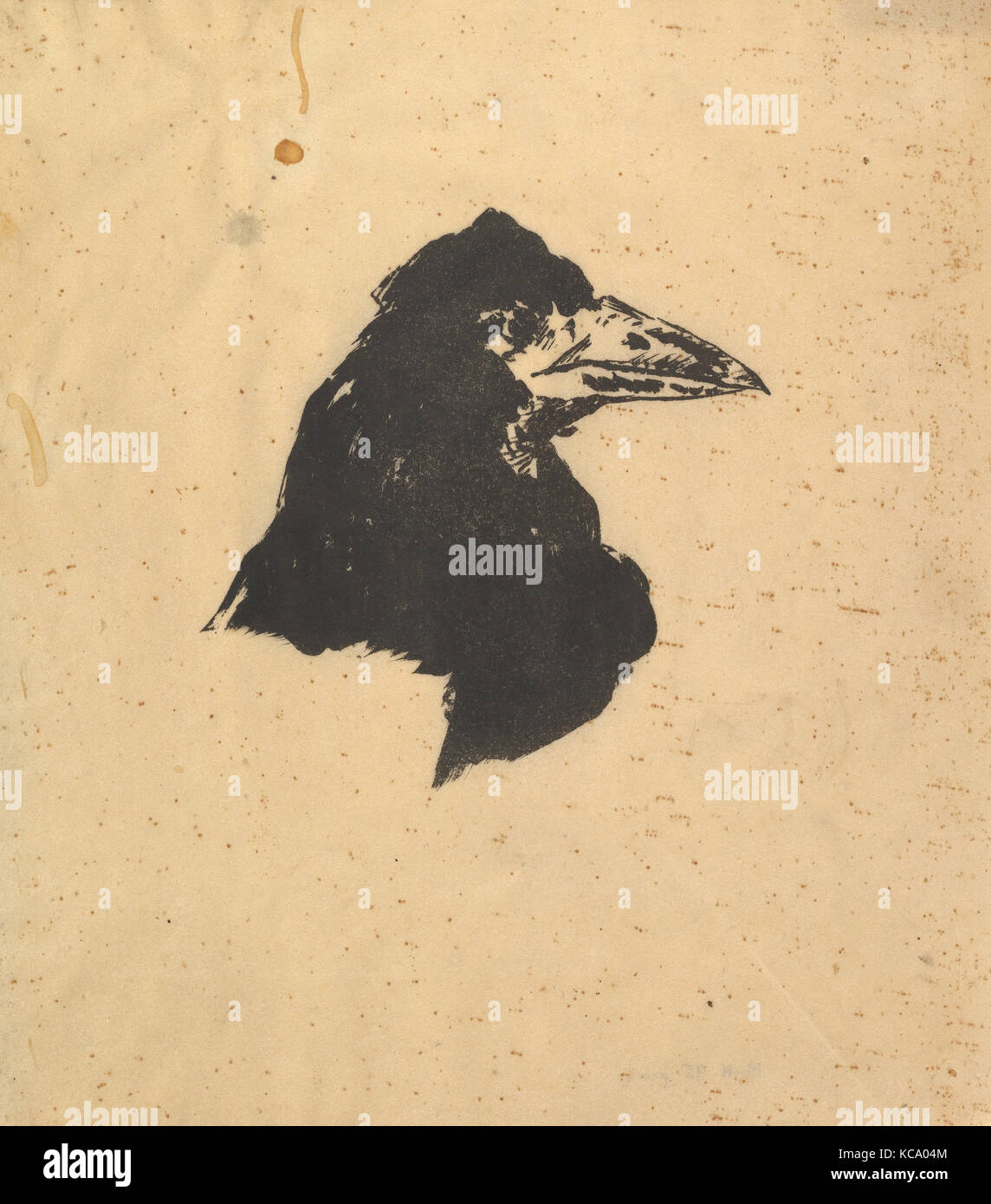 Design for the poster and cover for The Raven by Edgar Allan Poe, Édouard Manet, 1875 - Stock Image