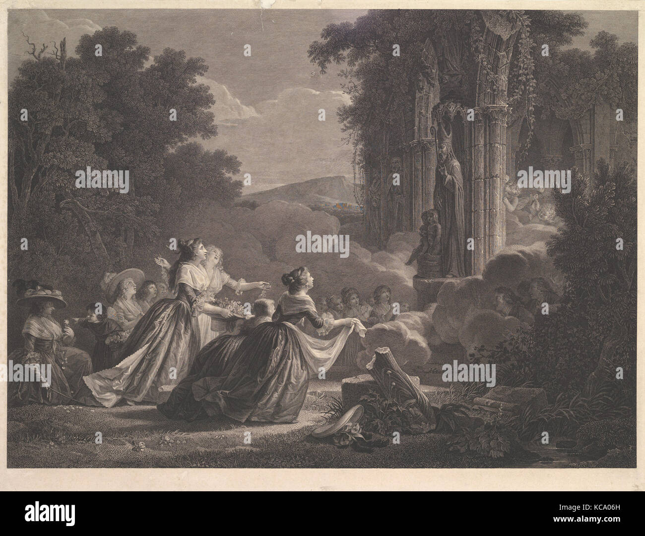 Pelerinage a Saint Nicolas, After Jean Honoré Fragonard, n.d - Stock Image