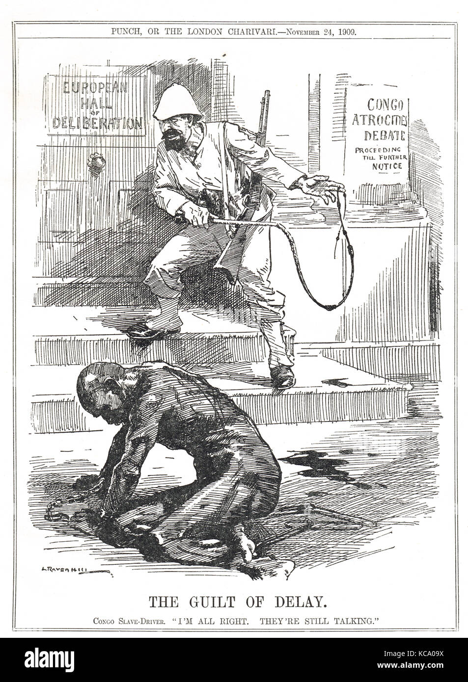 The Guilt of Delay, Slavery in the Belgian Congo, Punch cartoon, 1909 - Stock Image